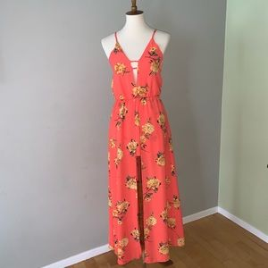 Floral Short Romper with Maxi Cover Up, Orange, S
